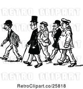 Vector Clip Art of Retro Group of Men Walking by Prawny Vintage
