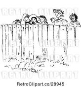 Vector Clip Art of Retro Group of People Looking over a Fence by Prawny Vintage