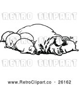Vector Clip Art of Retro Group of Sleeping Pigs by Prawny Vintage