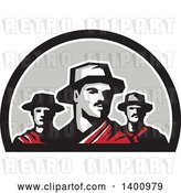 Vector Clip Art of Retro Group of Three Gaucho Cattle Ranchers in a Half Circle by Patrimonio