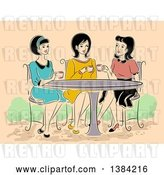 Vector Clip Art of Retro Group of Women Having Tea at a Cafe by BNP Design Studio