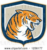 Vector Clip Art of Retro Growling Tiger Head in a Blue Orange White and Tan Shield by Patrimonio