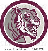 Vector Clip Art of Retro Growling Tiger in a Circle by Patrimonio