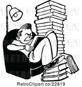 Vector Clip Art of Retro Grumpy Reading Books and Studying by Prawny Vintage