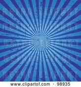 Vector Clip Art of Retro Grungy Blue Ray Background by Pushkin
