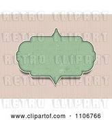 Vector Clip Art of Retro Grungy Green Frame over Vertical Pink Stripes by KJ Pargeter