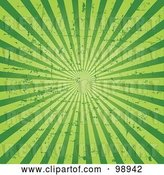 Vector Clip Art of Retro Grungy Green Ray Background by Pushkin