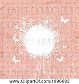 Vector Clip Art of Retro Grungy Pink Polka Dot Background with White Floral Grunge and Butterflies by KJ Pargeter