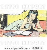 Vector Clip Art of Retro Grungy Pop Art Lady Reading on a Bed by Brushingup