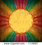 Vector Clip Art of Retro Grungy Scalloped Frame over Sparkles and Rainbow Rays by Elaineitalia