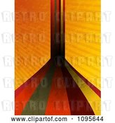 Vector Clip Art of Retro Grungy Stripes Leading Forward and up over Grungy Orange Rays by Elaineitalia