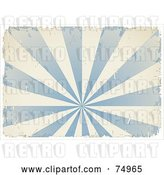 Vector Clip Art of Retro Grungy Textured Blue and White Burst with Ripped Edges and White Borders by Anja Kaiser