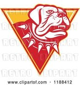 Vector Clip Art of Retro Guard Mastiff Dog with a Spiked Collar over a Triangle by Patrimonio