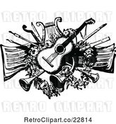 Vector Clip Art of Retro Guitar Lyre Horns and Other Instruments over Sheet Music by Prawny Vintage