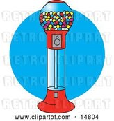 Vector Clip Art of Retro Gumball Vending Machine Full of Colorful Balls of Chewing Gum by Andy Nortnik
