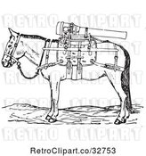 Vector Clip Art of Retro Gun Mule with Weapons in by Picsburg