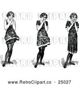 Vector Clip Art of Retro Gushing Girls by Prawny Vintage