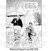 Vector Clip Art of Retro Guy and Boy Carrying Golf Clubs in the Rain by Prawny Vintage