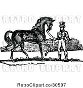 Vector Clip Art of Retro Guy and Handsome Horse by Prawny Vintage