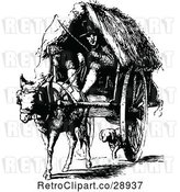 Vector Clip Art of Retro Guy and Horse Drawn Cart by Prawny Vintage