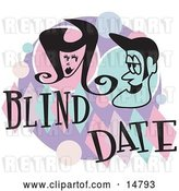 Vector Clip Art of Retro Guy and Lady Grinning at Eachother While on a Blind Date by Andy Nortnik