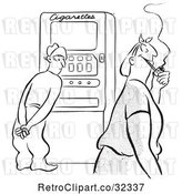 Vector Clip Art of Retro Guy at a Cigarette Machine Watching a Lady with a Pipe by Picsburg