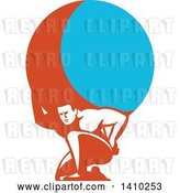 Vector Clip Art of Retro Guy, Atlas, Kneeling and Carrying a Blue and Orange Globe by Patrimonio