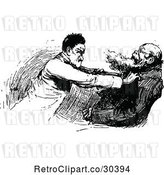 Vector Clip Art of Retro Guy Attacking Another by Prawny Vintage