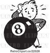 Vector Clip Art of Retro Guy Behind an Eight Ball by BestVector