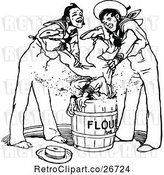 Vector Clip Art of Retro Guy Being Dunked in Flour by Sailors by Prawny Vintage