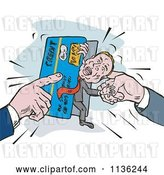 Vector Clip Art of Retro Guy Being Squeezed in a Credit Card Crunch by Patrimonio