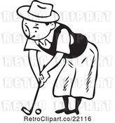 Vector Clip Art of Retro Guy Bending over While Golfing by BestVector
