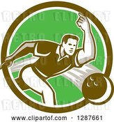 Vector Clip Art of Retro Guy Bowling in a Brown Green and White Circle by Patrimonio