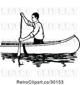 Vector Clip Art of Retro Guy Canoeing 3 by Prawny Vintage