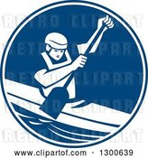 Vector Clip Art of Retro Guy Canoeing and Paddling in a Blue and White Circle by Patrimonio
