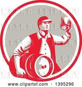 Vector Clip Art of Retro Guy Carrying a Beer Keg and Holding up a Mug of Beer in a Red White and Taupe Circle by Patrimonio