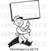 Vector Clip Art of Retro Guy Carrying a Blank Sign by BestVector