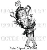 Vector Clip Art of Retro Guy Carrying a Giant Trophy by Prawny Vintage