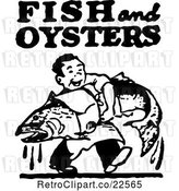 Vector Clip Art of Retro Guy Carrying a Large Fish with Fish and Oysters Text by BestVector