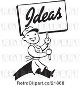 Vector Clip Art of Retro Guy Carrying an Ideas Sign by BestVector