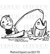 Vector Clip Art of Retro Guy Catching a Giant Fish by BestVector