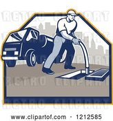 Vector Clip Art of Retro Guy Cleaning a Drainage System with a Hose and Truck by Patrimonio