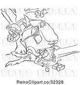 Vector Clip Art of Retro Guy Collecting Gas from a Leaky Tank After a Car Wreck by Picsburg
