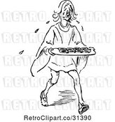 Vector Clip Art of Retro Guy Crying over Tarts by Prawny Vintage