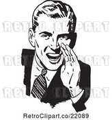 Vector Clip Art of Retro Guy Cupping His Hand Around His Mouth by BestVector