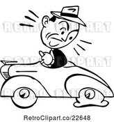 Vector Clip Art of Retro Guy Driving a Car with a Flat Tire by BestVector