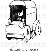 Vector Clip Art of Retro Guy Driving a Van by Prawny Vintage