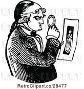 Vector Clip Art of Retro Guy Examining a Photo by Prawny Vintage