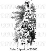 Vector Clip Art of Retro Guy Falling from a Cliff by Prawny Vintage