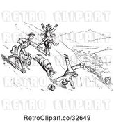 Vector Clip Art of Retro Guy Falling off a Donkey in 1 by Picsburg